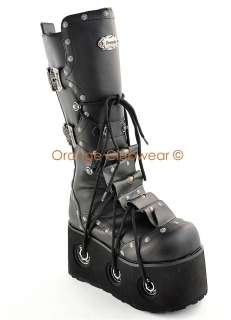 DEMONIA Mens Goth Cyber Punk Platform Knee High Boots 885487457307