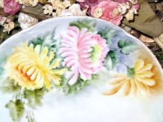 BAVARIA HAND PAINTED PINK YELLOW MUMS PLATE Fab