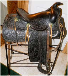 Vintage Antique Bona Allen Tooled Western Saddle, Collectible, Display