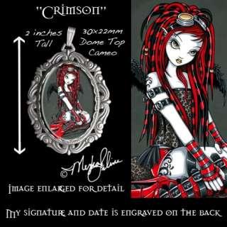 Cyber Goth Tattoo Angel CAMEO PENDANT Fairy Crimson