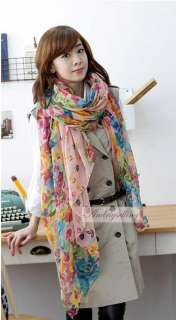 Lady Girls Fashion Long floral flower Soft Cotton Scarf Shawl Stole