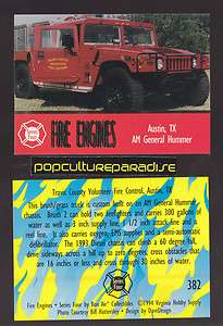 1993 AM GENERAL HUMMER Hum Vee FIRE TRUCK ENGINE CARD Austin, Texas TX