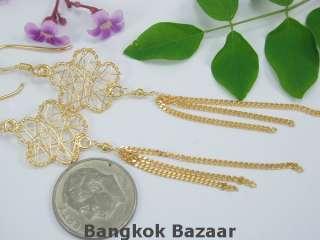 THAI HAND MADE 22K 24K Gold Vermeil Wire Wrap Earrings