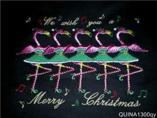 CHRISTMAS GREEN DRESSED FLAMINGOS DANCING CANCAN SHIRT