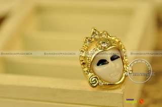 Women Fashion Vintage Sexy Mask Bling Rhinestone Ring New #FARING019