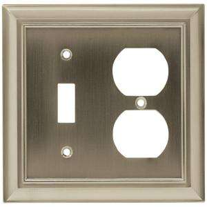 Liberty 2 Gang Switch/Duplex Architectural Satin Nickel Wall Plate