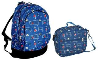 Backpack Book Lunch Box Bag Set Boys Soccer Ball Player Blue New