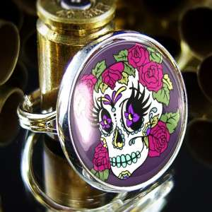 Day of the Dead Girl Muertos Sugar Skull Adjustable Sterling Silver