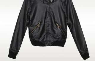 Korean Women Slim Faux Leather Jacket Coat 2 Color 0557