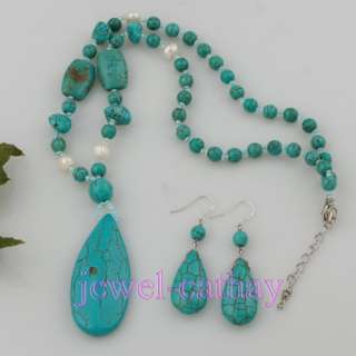 18mm Natural TURQUOISE Beads Tear Drop Pendant Necklace Earrings Set