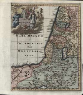 Lands 1729 Amsterdam original antique map w/ great cartouche