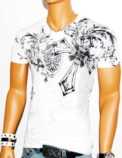 NWT MENS GLORY WHITE DESIGNER T SHIRT MUSCLE MMA GRAPHIC CROSS GOD L