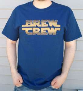 Milwaukee BREW CREW Star Wars Font T shirt   NAVY