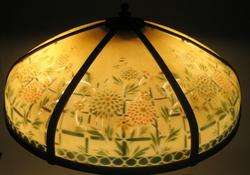Antique Pittsburg Art Nouveau Reverse Painted Glass Panel Lamp c. 1910