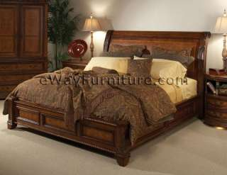 Vineyard Queen Low Profile Sleigh Storage Bed Bedroom Set Hardwood