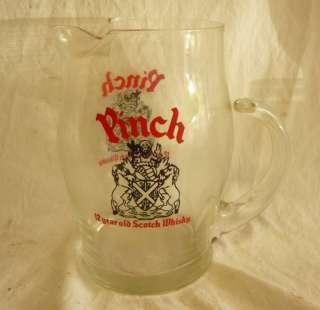 Vintage PINCH 12 YEAR OLD Whisky Scotch Glass Pitcher