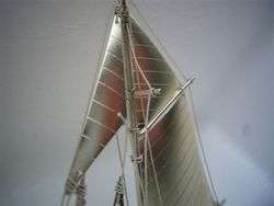 CRAFTED OLD JAPANESE STERLING SILVER MODEL YACHT SHIP