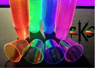 2oz Neon Plastic Shot Glass Cups  Semi Reuseable, Blacklight UV