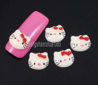 20pcs White Hello Kitty Head Nail Art Decoration Beads