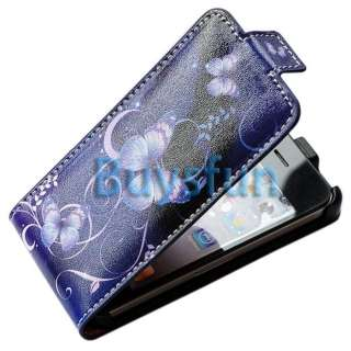 Butterfly Flip Leather Cover Case Skin for Apple iPhone 4 4G 4S