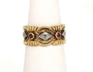 LOVELY VINTAGE 14K PINK & WHITE GOLD, RUBIES & DIAMONDS ORNATE RING