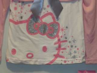 New Girls HELLO KITTY White Shirt with Attached Pink Bolero Sweater