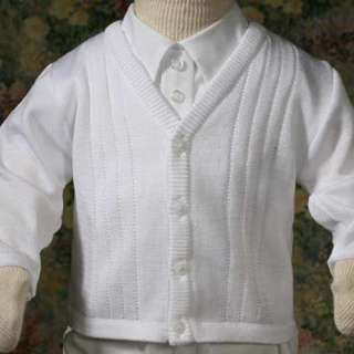 Baby Boys White Knit Baptism Christening Sweater 3M