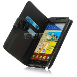 BLACK STONE LEATHER FOLIO CASE COVER FOR SAMSUNG GALAXY NOTE N7000