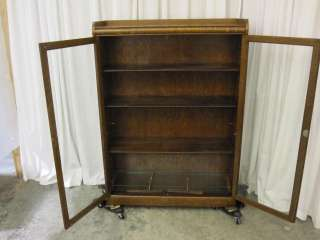 Antique Bookcase China or Curio Cabinet Quarter Saw Dark Tiger Oak
