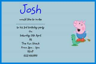 10 PERSONALISED PARTY INVITATIONS BOYS GEORGE PEPPA PIG
