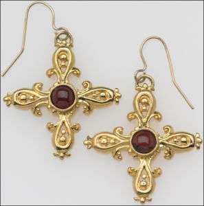 Fleur De Lys Victorian Cross Earring Garnet Cabochons