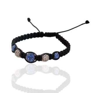 Bracelet de Perles Saphir Bleu Diamant Bijoux Sterling Silver