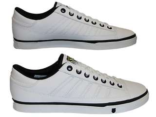 MENS WHITE K SWISS COURT PC 02647189 LEATHER LACE UP TENNIS TRAINERS