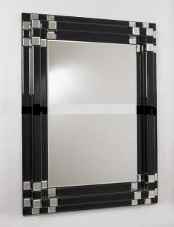 New Stunning Art Deco Black Block Wall Mirror