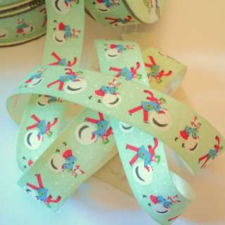 6m roll VINTAGE MERRY CHRISTMAS RIBBON and present