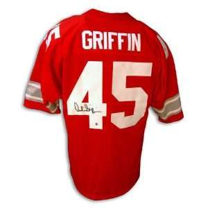 Autographed Archie Griffin Ohio State Red Jersey With 74