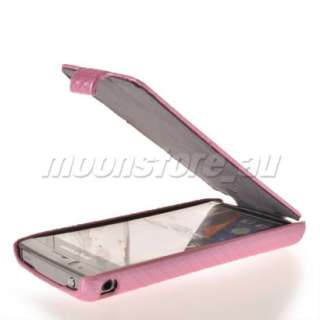 PINK CARBON FIBER LEATHER FLIP CASE for SONY ERICSSON XPERIA ARC / ARC