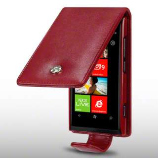 PU LEATHER FLIP CASE FOR NOKIA LUMIA 800   RED