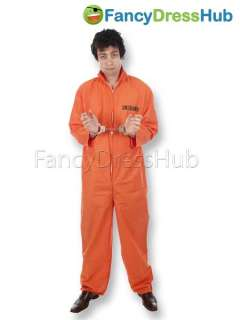 OR BLK/WHITE PRISONER CONVICT JUMPSUIT/HANDCUFFS FANCY DRESS