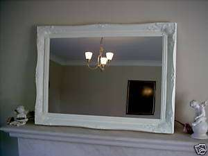 MATT WHITE LARGE SHABBY CHIC WALL MIRROR SAVE £80
