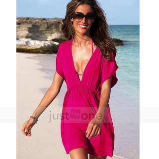 Sexy Women Beach Wear Swimwear Nylon Bikini Cover Up Deep V Shirt