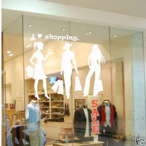 SHOPPING WALL DECAL CLOTHES SHOP DECOR STICKER CHIC