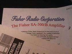 Fisher SA 300 SA 300 B Tube Amplifier Restoration Kit