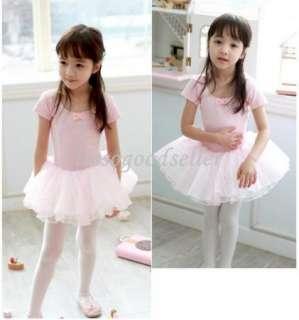 Leotard Ballet Tutu Costume Dance Skirt Dress 2 7Y Pink Black