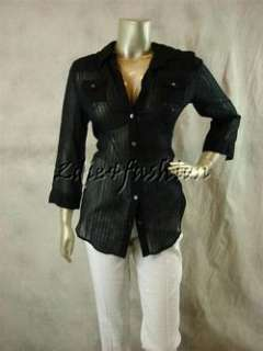 225 New ELIZABETH & JAMES Sheer Black Stripe Back Zipper Cotton Shirt