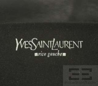 YSL Yves Saint Laurent Black Ruched Leather Flap Clutch