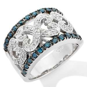 50ct Blue and White Diamond Sterling Silver Heart Band Ring