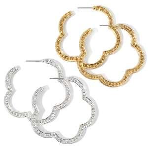 by Hot in Hollywood® Crystal Clover Hoop Earrings