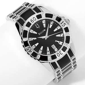 Mens Black Enamel Stainless Steel Diamond Bracelet Watch