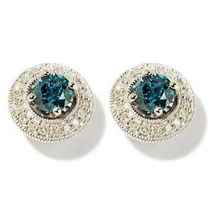 Gold Earrings w/Removable Diamond Jackets   Green or Blue